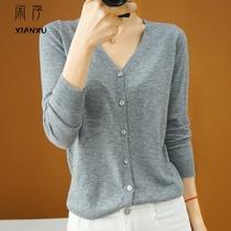 春秋新款纯色毛衣开衫女短款V领薄款针织羊毛打底衫百搭小外套