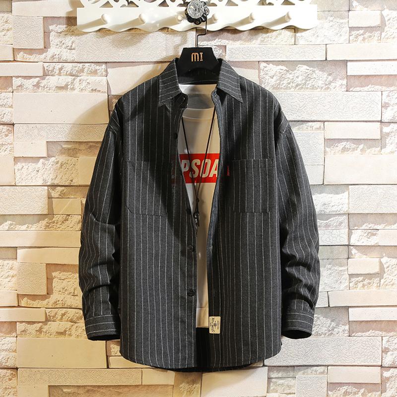 白砖日系翻领条纹衬衫宽松磨毛长袖衬衣男士秋季QT5060_C209_P45