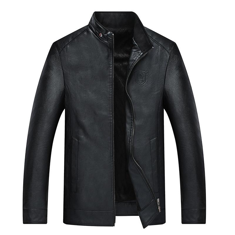 Cross border Menswear lazada express 2019 new winter mens leather coat Plush locomotive PU leather jacket