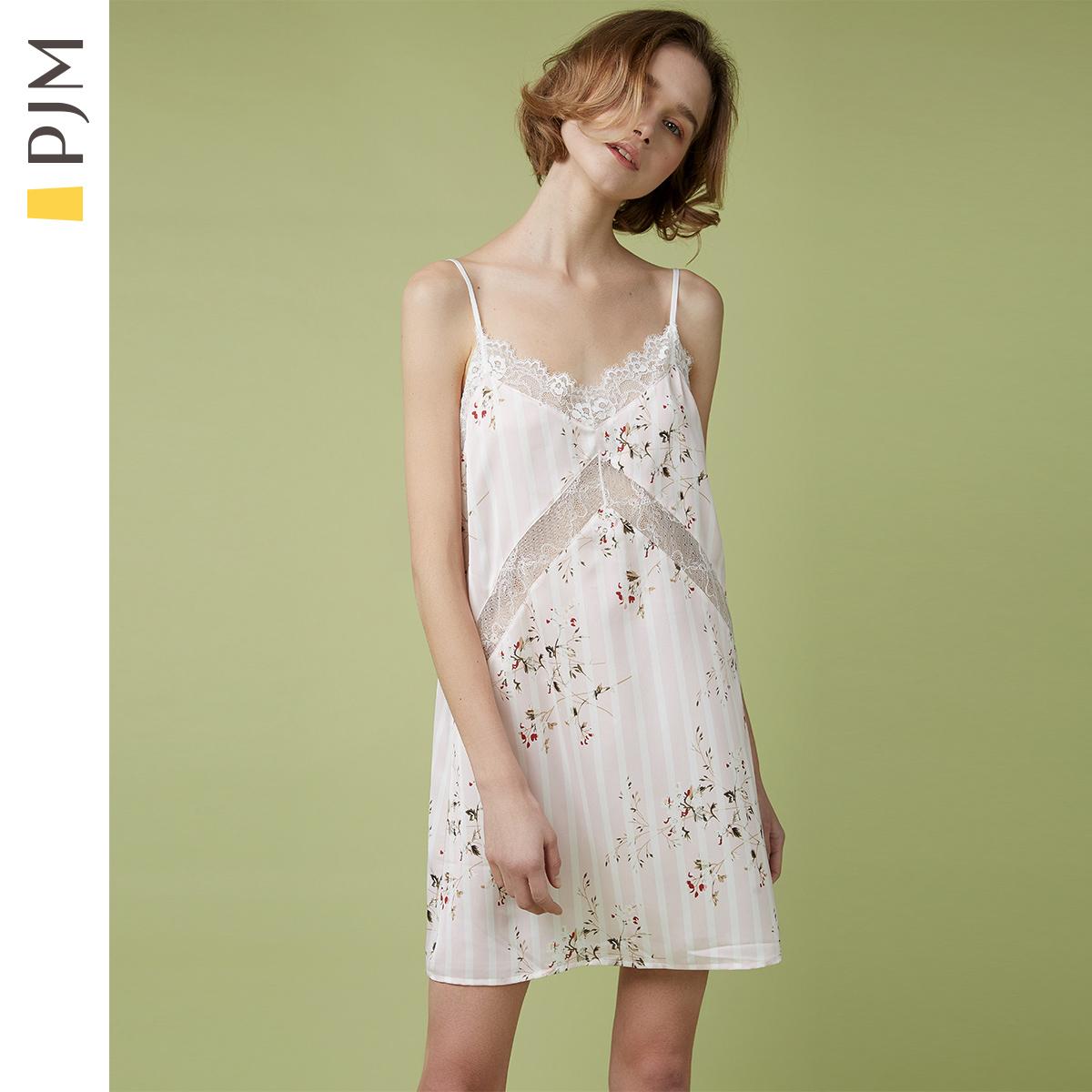 PJM睡裙女夏季性感冰丝吊带睡衣薄款蕾丝镂空可爱舒适家居服