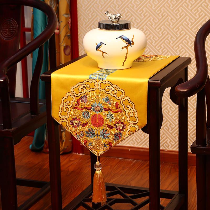 桌旗新中式现代禅意刺绣中国风装饰旗布茶桌布红木茶几红色茶布旗