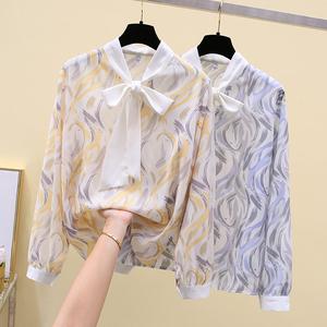 FS98524# 系带印花碎花衬衫女上衣 服装批发女装直播货源