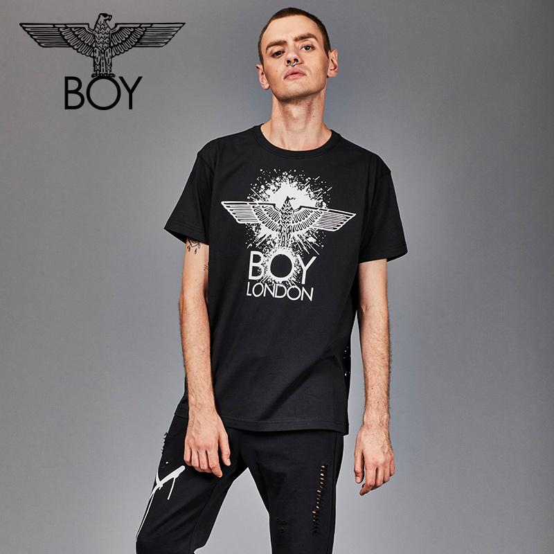 boylondon短袖T恤男老鹰情侣款潮流印花2018秋季新款B182NC303201