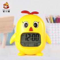 学生用音乐闹钟床头女卡通静音小学生儿童专用创意小鸡闹钟多功能