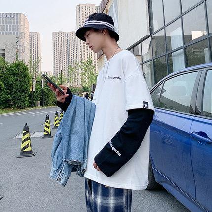 2019秋季新款男士长袖卫衣韩版潮流圆领学生假两件T恤宽松外套ins
