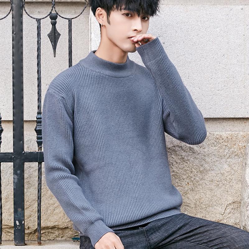 秋冬季新款半高領毛衣男寬松男士針織打底衫加絨加厚學生情侶外套