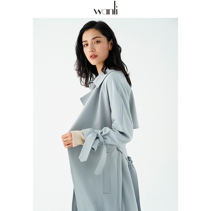 万丽(服饰)风衣女中长款2020年春季新款无扣坠感雾霾蓝风衣外套