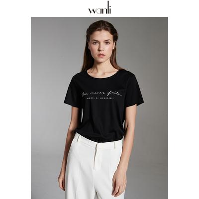 万丽(服饰)短袖黑色t恤女宽松纯棉液氨黑科技匹马棉字母上衣夏