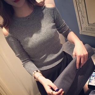 露肩修身显瘦打底小衫女2019新款秋冬韩版套头款长袖T恤紧身上衣