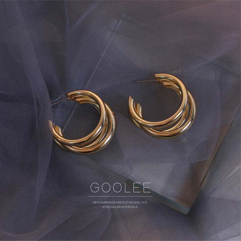 C型耳环2021金色圆圈耳圈气质复古小香风日韩圆环百搭个性女耳饰
