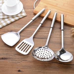 厨房不锈钢锅铲加厚防烫炒菜铲子漏勺汤勺长柄厨具炊具装汤勺子