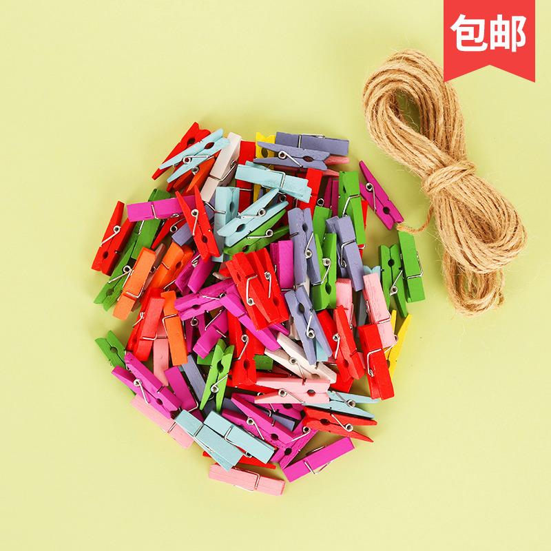 [创意麻绳照片夹子 ] разноцветный [原木色悬挂夹子照片墙木质相片夹] бесплатная доставка по китаю