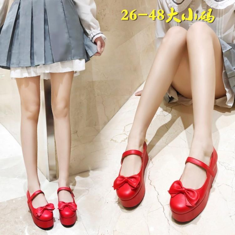 韩版平跟jk洛丽塔cospaly单鞋厚底松糕跟大码反串女童蝴蝶结扣带