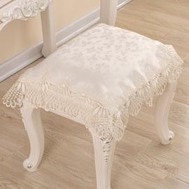 化妆台凳子换鞋凳巾欧式高档蕾丝花边钢琴软包椅垫床头柜万能盖布