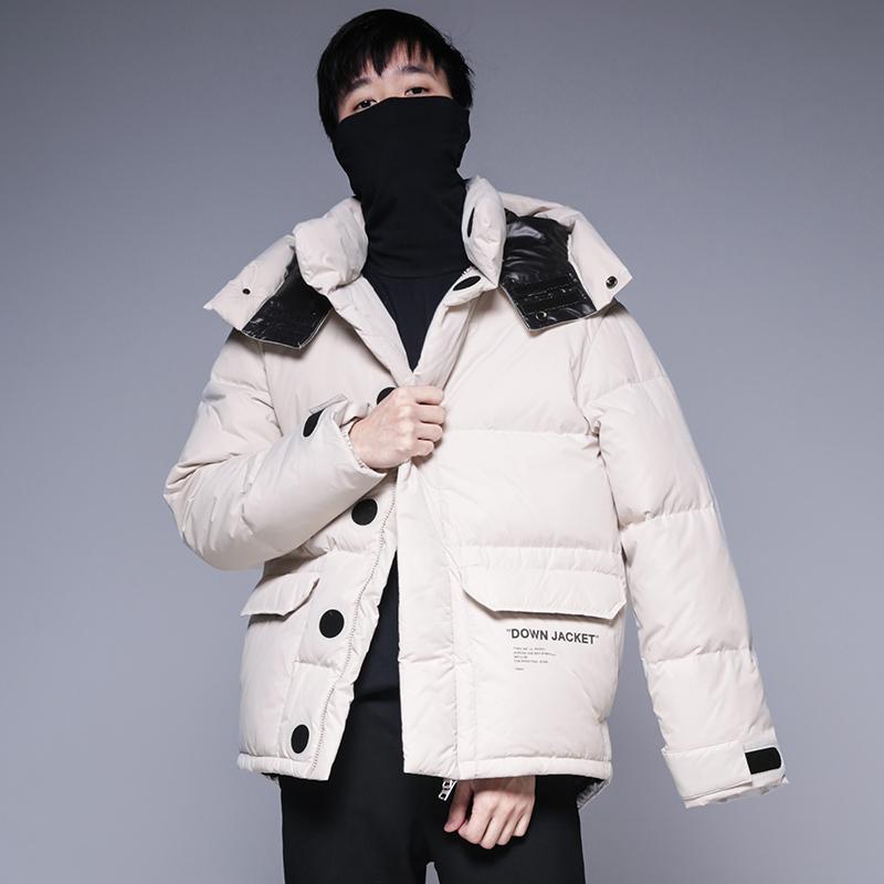 原创潮牌男装冬保暖90%白鸭绒字母印花宽松连帽羽绒服外套夹克男