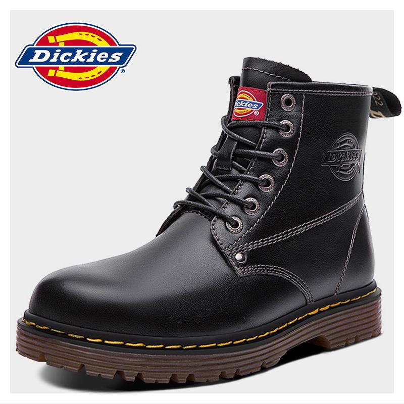 Dickies男靴冬季棉鞋中幫馬丁靴子男真皮工裝鞋男士皮靴潮流軍靴