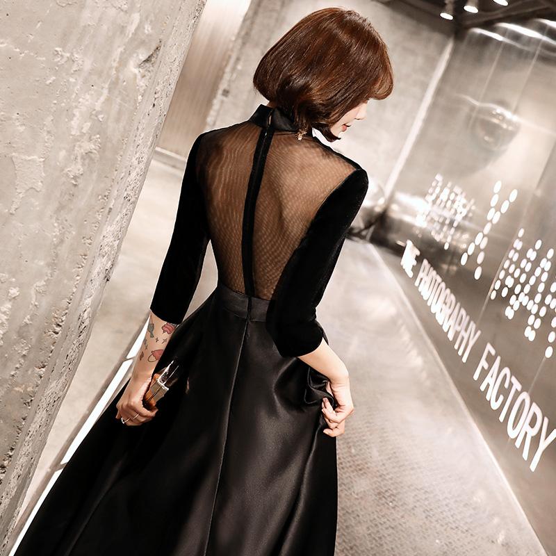 黑色晚礼服裙轻奢小众高端2021新款宴会主持人礼服女大合唱服大气