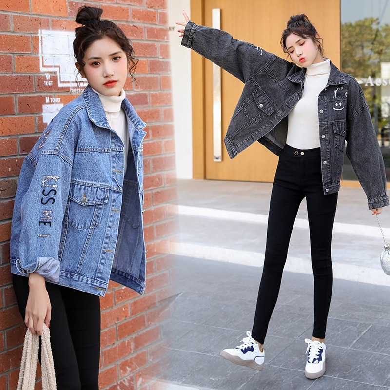 Autumn Denim Jacket Women 2020 new Korean loose and versatile smile letter personality Sequin cardigan jacket fashion