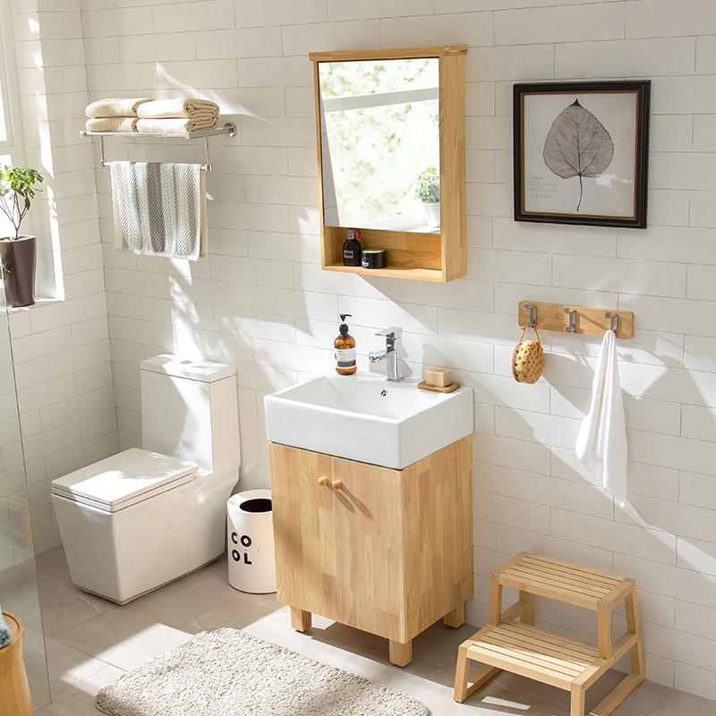 满800元可用50元优惠券北欧橡木小户型卫浴柜浴室柜镜柜