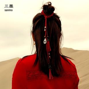 復古紅頭繩古風發帶宮絛超仙流蘇發繩漢服裙子腰帶配飾古裝髮飾