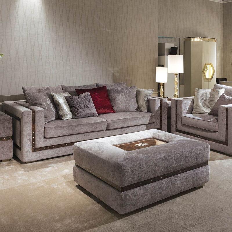 Italian light luxury sofa three person combination post modern high-end fabric sofa whole set living room large house type customization