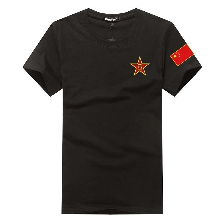 Short sleeve T-shirt with Chinese flag pattern, five star red flag top clothing, short sleeve for men and women military fans