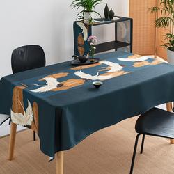 日式桌布和风防水防油免洗棉麻餐桌布中式禅意电视柜茶几桌布定制