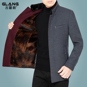 利郎中年秋冬款男士羊毛呢装上夹克