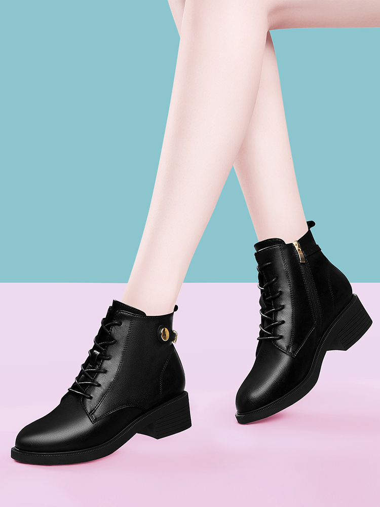 意尔康短靴女中粗跟秋冬季2020年新款加绒中帮皮鞋百搭小个子软皮图片