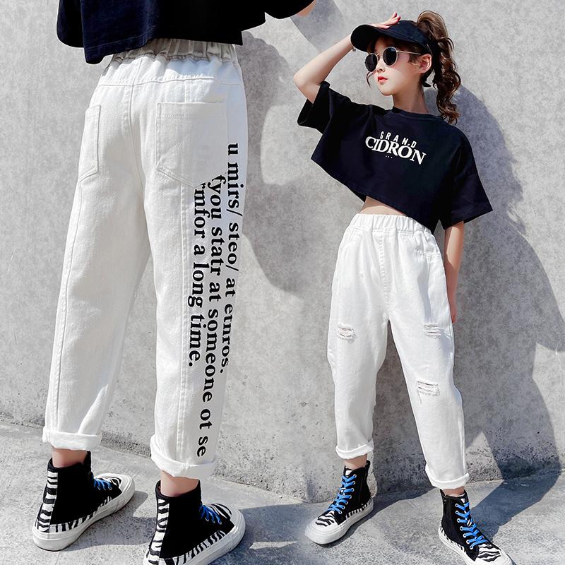 女童夏季薄款白色破洞牛仔裤洋气韩版儿童裤子中大童时髦老爹裤