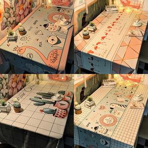 桌布防水防烫防油免洗pvc桌垫北欧茶几布艺网红餐桌布书桌ins学生