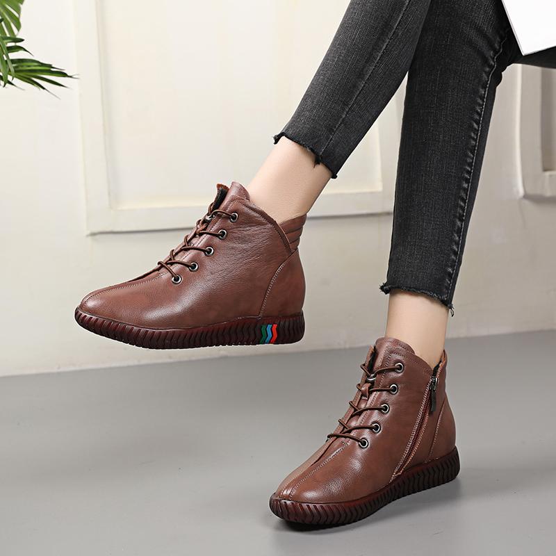 牛筋底短靴女真皮平底2019新款春秋单靴马丁靴冬季加绒妈妈棉皮鞋