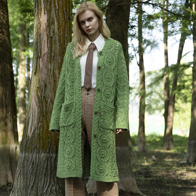 Yak cashmere long sweater womens autumn and winter 2020 new knitted coat does not collide with sweater wool medium long cardigan foreign style