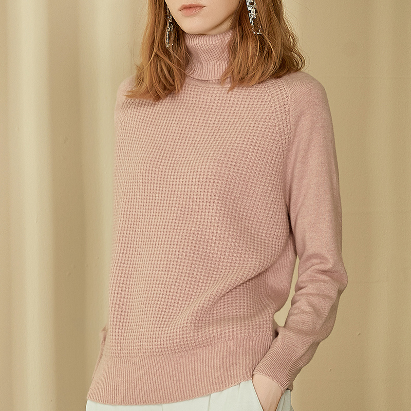 Autumn and winter 2019 new pure cashmere sweater high neck sweater womens short thickened lazy wind knitwear bottom coat