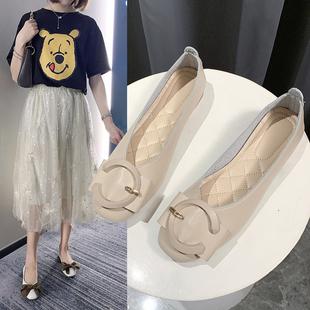 低跟休闲女鞋 单鞋 夏季 女平底2020新款 子 浅口休闲潮软底百搭豆豆鞋