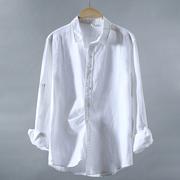 白色亚麻衬衫男夏季薄款简约透气日系长袖衬衣宽松文艺风棉麻寸衫