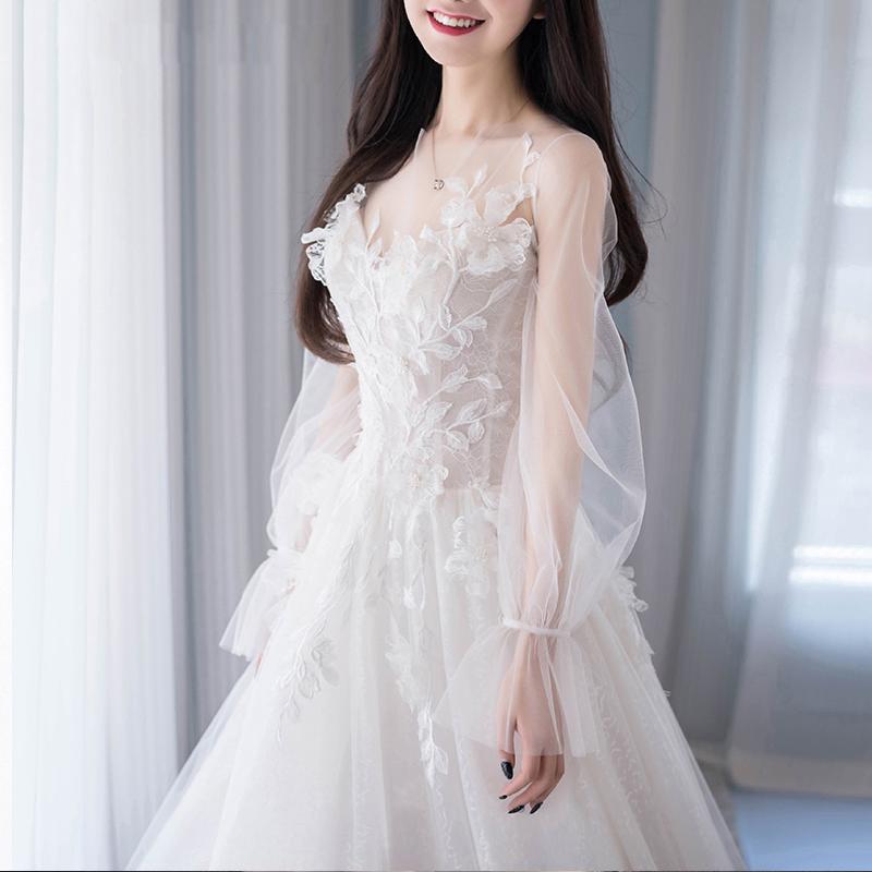 婚纱礼服2020新款新娘一字肩韩式超仙梦幻简约森系长拖尾出门轻纱图片