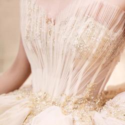 轻婚纱2020新款新娘森系礼服贝壳抹胸法式拖尾女小个子女抖音同款