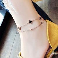 雙層四葉草腳鏈女個性韓版網紅女款性感玫瑰金鈦鋼小眾設計腳鏈子