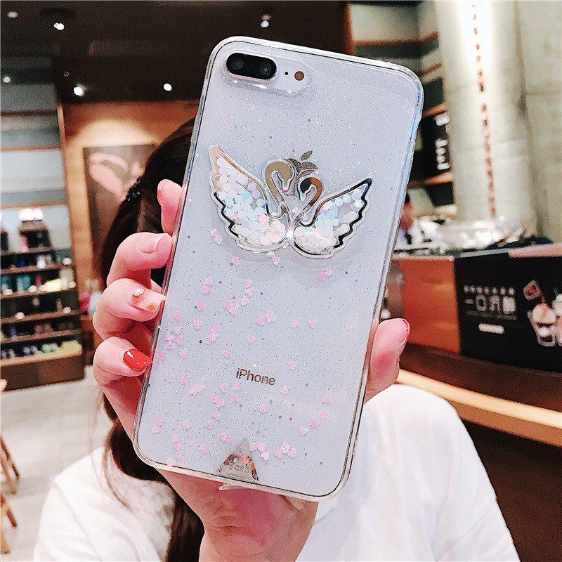 新款亮片天鹅iPhone8苹果7plus手机壳x透明硅胶6s女款保护套潮流
