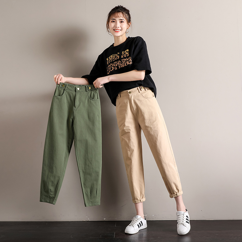 Loose Khaki army green dad Pants Girls Cotton Pants overalls 9-point rib pants versatile casual soft