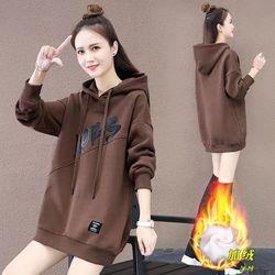 2020新款加绒加厚中长款卫衣女装秋冬季新款宽松显瘦上衣外套潮