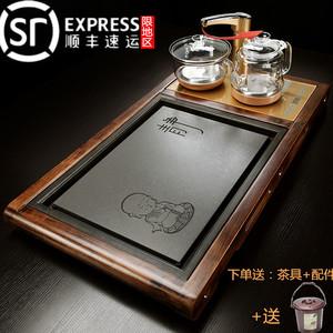 茶盘套装实木茶台全自动上水电热磁炉玻璃壶一体功夫茶海茶托盘