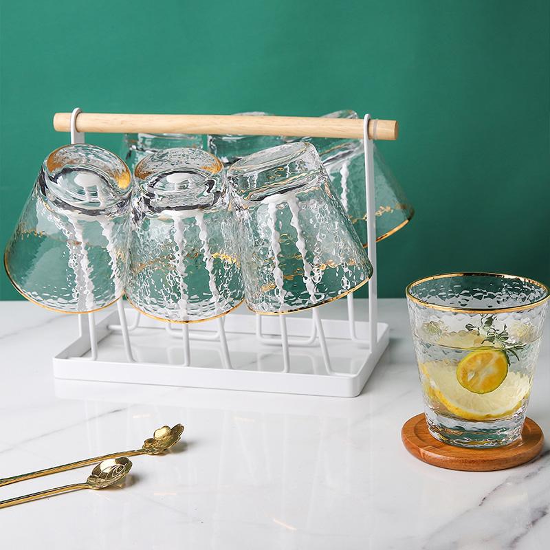 日式锤纹玻璃杯子套装水杯6只装茶杯啤酒杯饮料创意个性潮流杯子