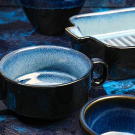 舍里欧式窑变陶瓷餐具双耳烤盘芝士焗饭盘插筷碗汤面碗盅个性菜盘图片