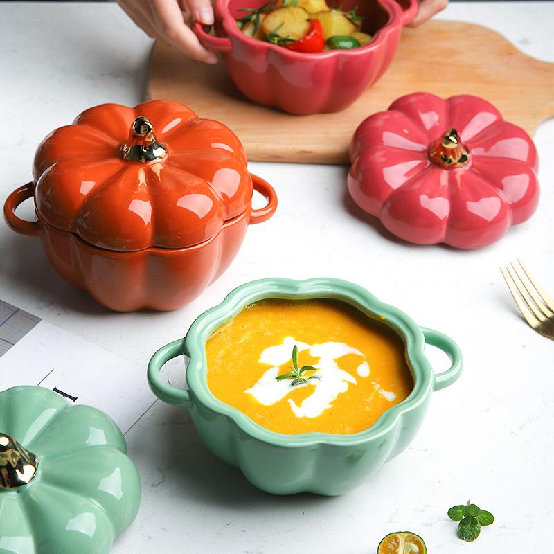 舍里创意可爱南瓜汤盅带盖烤碗陶瓷饭碗烘焙餐具甜品汤碗隔水炖盅