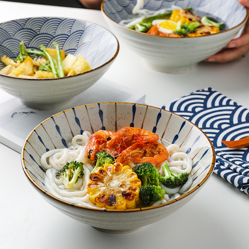 舍里日式陶瓷拉面碗吃面大碗汤碗斗笠碗面条碗沙拉泡面碗日料餐具图片