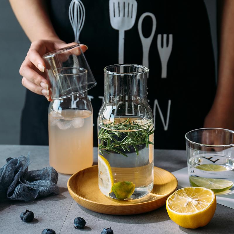舍里 日式玻璃一壶一杯套装果汁饮料杯茶壶水杯茶杯牛奶杯早餐杯图片
