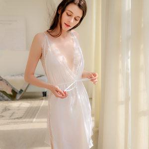 千雪茵性感睡衣女夏火辣午夜魅力薄款骚吊带两件套装雪纺情趣睡裙