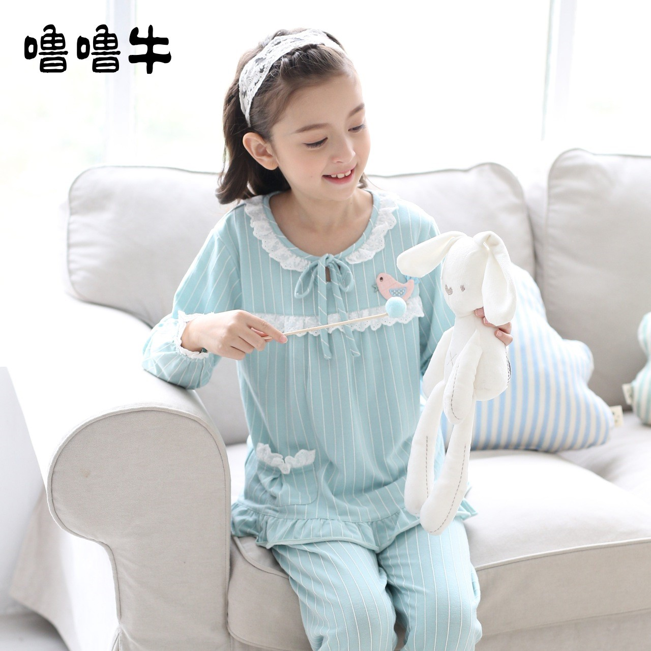 Girls pajamas spring and autumn cotton long sleeve middle school girl Princess Pullover